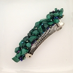Malachite Nugget-wrapped Hair Barrette 60mm BA1560