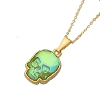 Crystal Skull Necklace Ultra Green Iridescent NE426