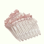 Rose Quartz and Pearls Mini-Comb Pair (40mm)