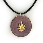 Violet Pearl and Gold Hippie Cannabis Leaf Necklace