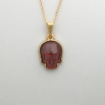 Crystal Skull Necklace Red Magma Necklace Gold-plated 18 inch