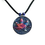 Red White and Blue Psychedelic Blue Hippie Cannabis Leaf Necklace
