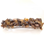 Tiger Eye Nugget-wrapped Hair Barrette 70mm BA1150
