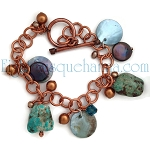 Turquoise Pearl Shell Copper Bracelet  BR1650