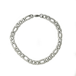 Solid Stainless Steel Figaro Chain Bracelet lead-free, Nickel-free