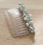 White Howlite Nugget 70mm Hair Comb CO336