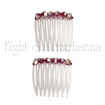 Ruby Red Glam Mini-Comb Pair (40mm)