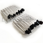 Obsidian Nuggets and Crystal Mini-Comb Pair (40mm)  CO464