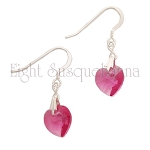 Rose Crystal Heart Earrings EAS0015