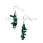 Malachite Nugget and Sterling Silver Drop/Dangle Earrings EAS1497