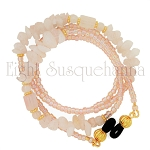 Glasses Leash with Rose Quartz and Gold Accents GL2542