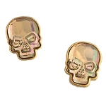 Crystal Skull Earrings Goldtone Purple Haze Medium