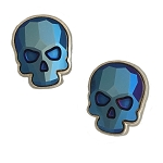 Crystal Skull Earrings Silvertone Blue Metallic Large. EA398