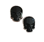 Crystal Skull Earrings Silvertone Black Large