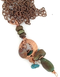 Turquoise and Copper Necklace with Dangly Pendant NE1997
