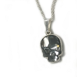 Crystal Skull Necklace Silver Night with Silver NE422