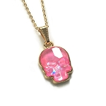 Crystal Skull Necklace Ultra Pink EA433