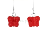 Red Czech Glass Butterfly Earrings EAS1117