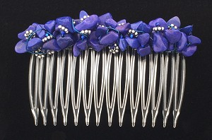 Lapiz-Blue Howlite Nugget Comb (70mm) CO294