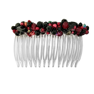 Black and Red Beadwrapped Side Comb (70mm)