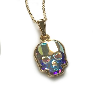 Iridescent Crystal AB Large Skull Necklace GLP