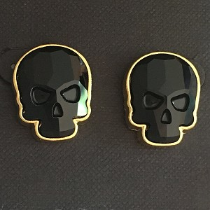 Crystal Skull Earrings Goldtone Jet Black Large