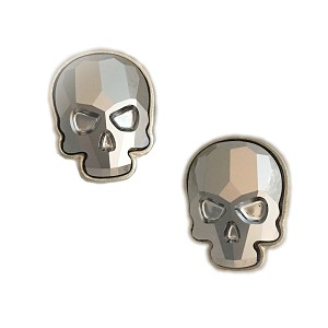 Crystal Skull Earrings Silvertone Chrome Large