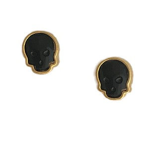 Crystal Skull Earrings Goldplated Jet Black Small