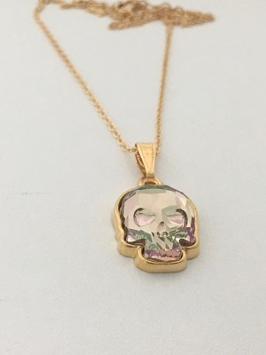 Crystal Skull Necklace Crystal Purple Haze Goldplate NE430