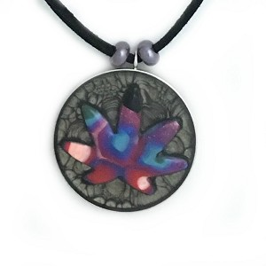 Red White and Blue Psychedelic Gray Hippie Cannabis Leaf Necklace