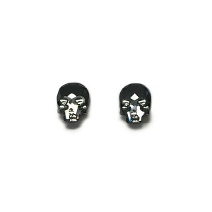 Crystal Skull Earrings Silver Night Studs EA421