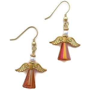 Handmade Gold Plated Swarovski Astral Pink Angel Earrings EA2051