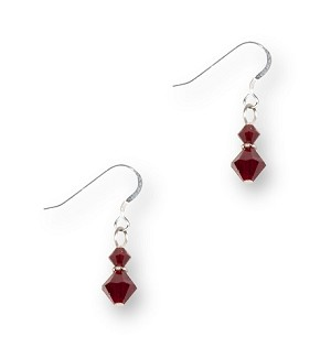 Red Crystal Sterling Silver Earrings EAS887