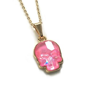 Crystal Skull Necklace Ultra Pink NE433