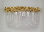 Golden Gossamer Czech Glass Beadwrapped 70mm Comb  CO1680