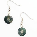 Moss Agate Drop/Dangle Silver Plated Earrings EA397