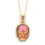 Crystal Skull Necklace Summer Blush Orange