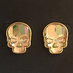 Crystal Skull Earrings Goldtone Crystal Purple Haze Finish Large