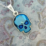 Crystal Skull Necklace Blue Metallic with Silver NE419