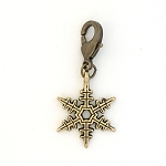 Snowflake Charm Antique Gold-Finished