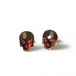 Crystal Skull Red Magma Stud Earrings