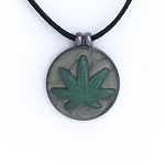 Green and Psychedelic Gray Hippie Cannabis Leaf Necklace