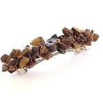 Tiger Eye Nugget-wrapped Hair Barrette 100mm BA1151