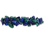 Malachite and Lapiz Nugget Wrapped Barrette 60mm BA1581