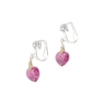 Rose Crystal Heart Clip-On Earrings EAC0015