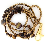 Tiger Eye and Tiger Iron ID Lanyard ID2190