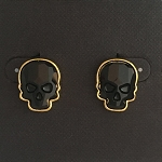 Crystal Skull Earrings Goldtone Jet Black Medium