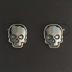 Crystal Skull Earrings Silvertone Jet Hematite Medium