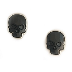 Crystal Skull Earrings Silvertone Jet Black Medium