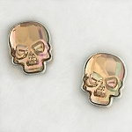 Crystal Skull Earrings Silvertone Purple Haze Medium